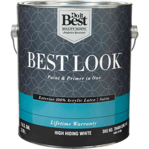 Best Look 100% Acrylic Latex Paint & Primer In One Satin Exterior House Paint, High Hiding White, 1 Gal.
